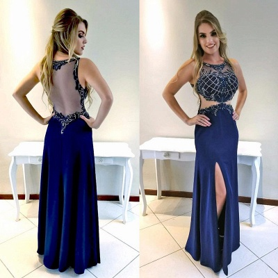 Mermaid Front-Split Long Sexy Prom Dress_3