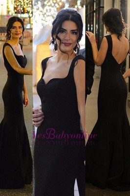 Long Sleeveless Mermaid Black Sexy Backless Evening Gowns_1