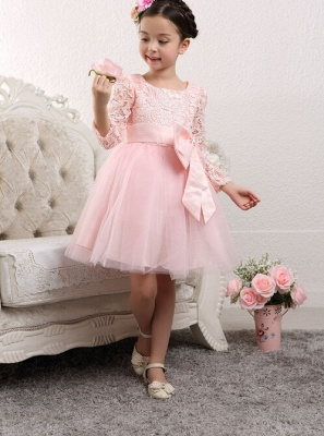 Lovely Long Sleeves Zipper Tulle Lace Flower Girl Dress With Bowknot_3