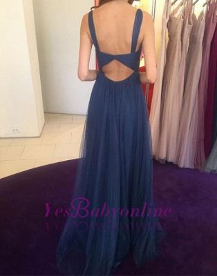Simple Long V-neck Blue Evening Dress_1
