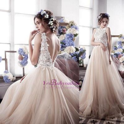 Appliques Romantic Tulle Sleeveless Classic Wedding Dress_1