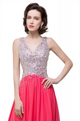 V-Neck A-Line Open-Back Modest Sleeveless Crystal Prom Dress_4