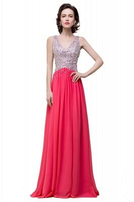 V-Neck A-Line Open-Back Modest Sleeveless Crystal Prom Dress_2