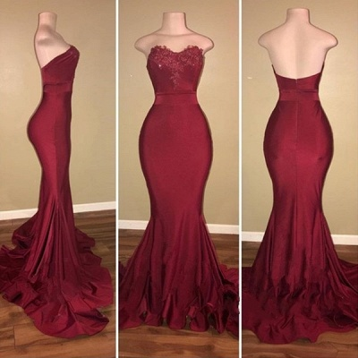 Stapless Sweetheart Mermaid Prom Dresses | Long Appliques Burgundy Evening Gowns_3