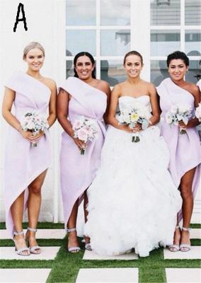 Long Hi-Lo Modest A-line One-Shoulder Sleeveless Bridesmaid Dress_2
