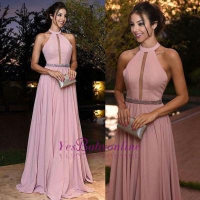 Elegant Pink Prom Dresses Halter Neck A-line Evening Gowns_1