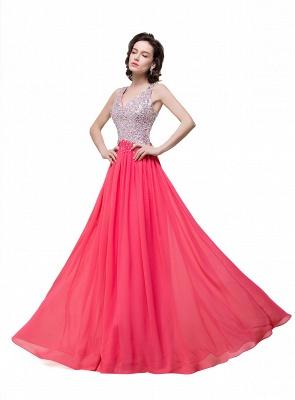 V-Neck A-Line Open-Back Modest Sleeveless Crystal Prom Dress_6