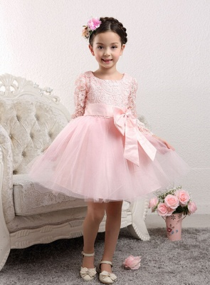 Lovely Long Sleeves Zipper Tulle Lace Flower Girl Dress With Bowknot_4