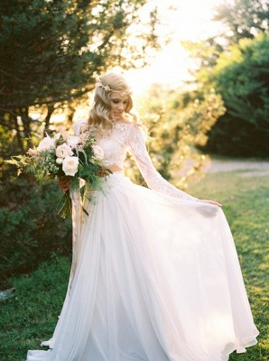 Long Sleevess Glamorous Chiffon Two-Piece A-line Lace Wedding Dresses_4