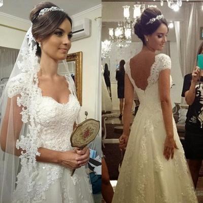 Modern Short-sleeves Zipper A-line Straps Lace Wedding Dress_3
