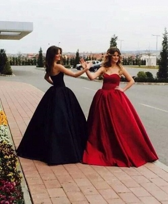 Sweetheart Glamorous Simple Sleeveless Ball-Gown Prom Dresses_4