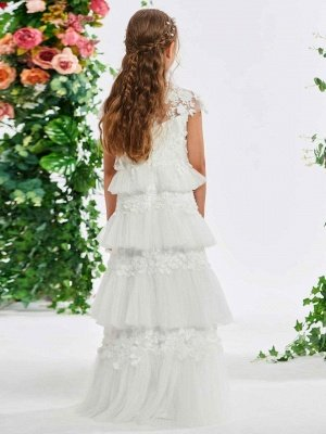 Lovely A-Line Tulle Cap Sleeve Layered Scoop Floor-Length Flower Girl Dress with Appliques_3