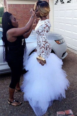 White Mermaid Sheer Prom Dresses Long Sleeves Tiers Tulle Skirt Formal Gowns_2
