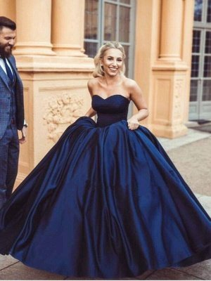 Sweetheart Glamorous Simple Sleeveless Ball-Gown Prom Dresses_2