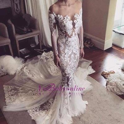 Long Sleeves Sexy Sheer Lace Appliques Mermaid Wedding Dresses_1