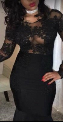 Sexy Black Mermaid Prom Dresses | Sheer Long Sleeves Evening Gowns_3
