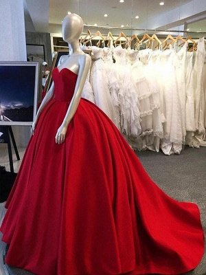 Sweetheart Glamorous Simple Sleeveless Ball-Gown Prom Dresses_3