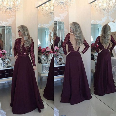 Beadings Sexy Lace Burgundy A-Line Long-Sleeves Prom Dress_3