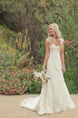 Classic Straps Long Mermaid Lace Wedding Dresses_2