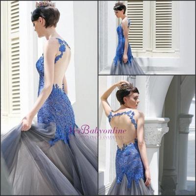 Glamorous Sexy Mermaid Appliques Tulle Sleeveless Evening Dress_3