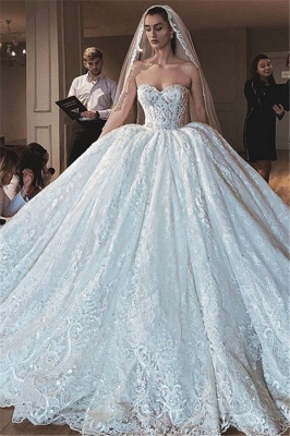 Strapless Sweetheart Ball Gown Wedding Dresses | Princess Lace Bridal Gowns_1