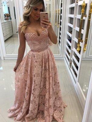 Sweetheart Elegant Long Sheath Pink Lace Prom Dresses_5