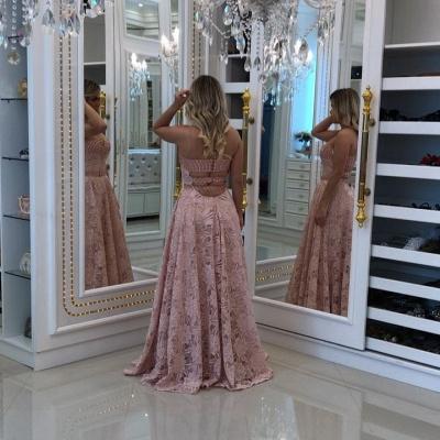 Sweetheart Elegant Long Sheath Pink Lace Prom Dresses_4