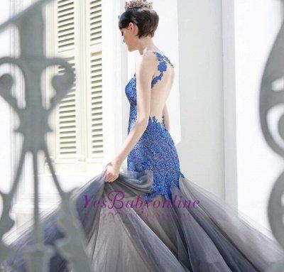 Glamorous Sexy Mermaid Appliques Tulle Sleeveless Evening Dress_4
