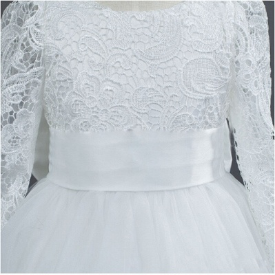 Lovely Long Sleeves Zipper Tulle Lace Flower Girl Dress With Bowknot_2