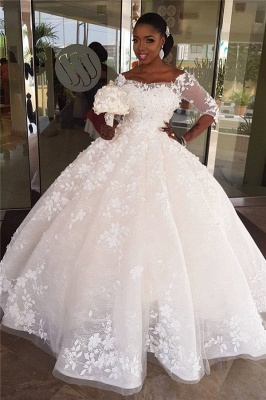 Off The Shoulder Three Quarters Sleeve Applique Puffy Ball Gown Wedding Dresses_1