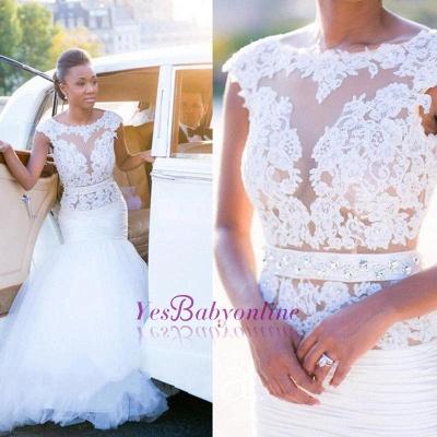 Cap-Sleeves White Mermaid Open-Back Appliques Tulle Wedding Dress_1