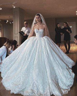 Strapless Sweetheart Ball Gown Wedding Dresses | Princess Lace Bridal Gowns_2