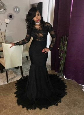 Sexy Black Mermaid Prom Dresses | Sheer Long Sleeves Evening Gowns_1