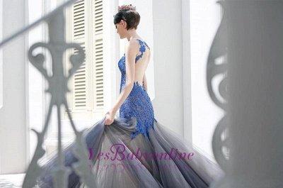 Glamorous Sexy Mermaid Appliques Tulle Sleeveless Evening Dress_1