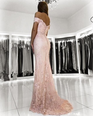 Charming Mermaid Lace Prom Dresses | 2019 Off-the-Shoulder Floor-Length Evening Gowns_3