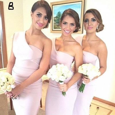 Long Hi-Lo Modest A-line One-Shoulder Sleeveless Bridesmaid Dress_3