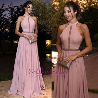 Elegant Pink Prom Dresses Halter Neck A-line Evening Gowns_1