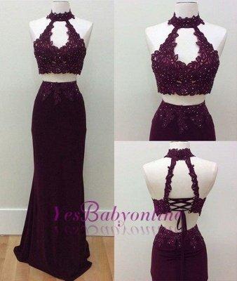 Lace-Up Sheath Lace Keyhole-Neck Beading Two-Piece Prom Dresses_1