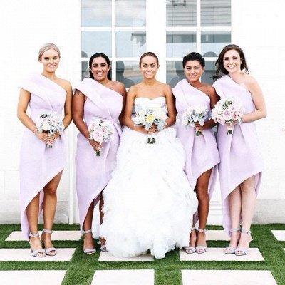 Long Hi-Lo Modest A-line One-Shoulder Sleeveless Bridesmaid Dress_4