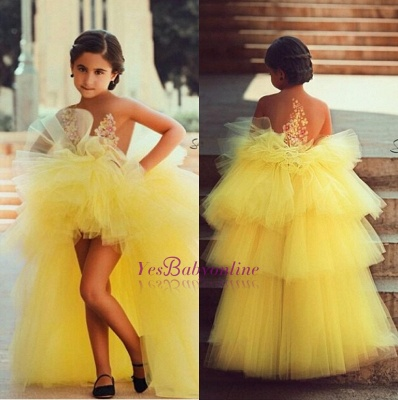 Tulle Tiered Appliques Short Flowers Lovely Flower-Girls Dress_1