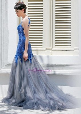 Glamorous Sexy Mermaid Appliques Tulle Sleeveless Evening Dress_2
