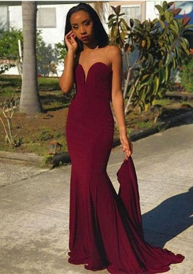 Long Sheath Strapless Prom Dresses | Burgundy Sweetheart Evening Gowns_1