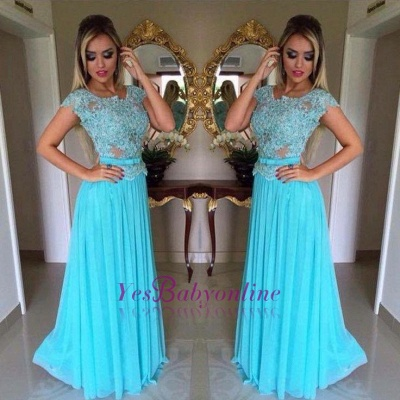 Scoop Appliques Short-Sleeves A-Line  Prom Dress_1