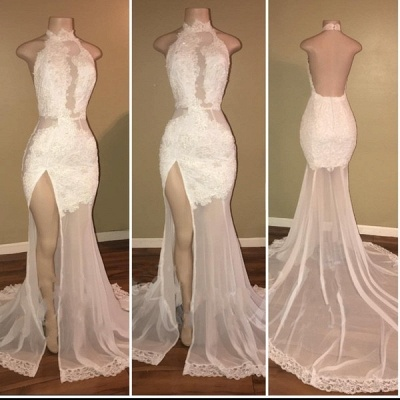 Elegant Lace Slit Prom Dresses | High Neck Backless Evening Gowns_3