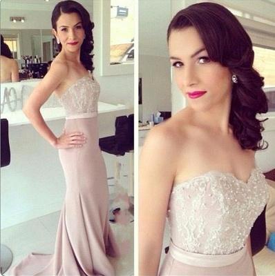 Elegant Lace Sweetheart Beads Mermaid Prom Dress_3