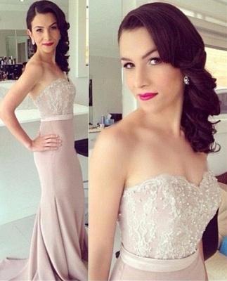 Elegant Lace Sweetheart Beads Mermaid Prom Dress_2