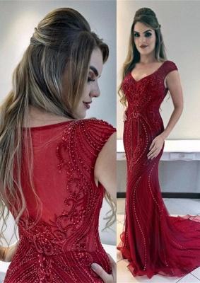 Red Cap-Sleeves Mermaid Gorgeous Prom Dress_3