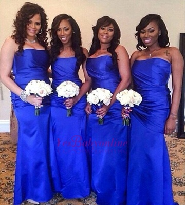 Elegant Floor-Length Ruched Royal-Blue Long Strapless Bridesmaid Dress_1