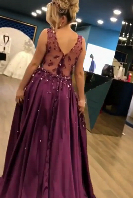 2019 Luxurious Sleeveless Mermaid Long Prom Dresses | V-Neck Overskirt Appliques Fashion Evening Gown_6