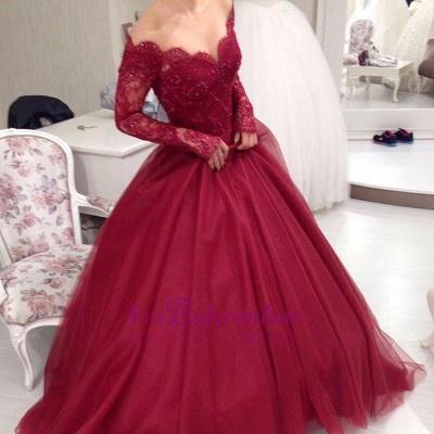 Elegant Princess Ball-Gown Long-Sleeves Off-the-shoulder Lace V-neck Tulle Evening Dresses_1